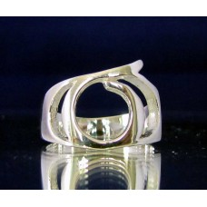 STERLING SILVER RING WITH GREEK LETTER SIGMA